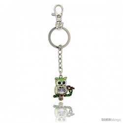 "Owl Key Chain, Key Ring, Key Holder, Key Tag, Key Fob, w/ Multi-color Swarovski Crystals, 3-1/2"" tall"
