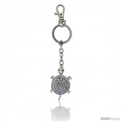 "Turtle Key Chain, Key Ring, Key Holder, Key Tag, Key Fob, w/ Blue Topaz-color Swarovski Crystals, 4-1/4"" tall"