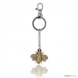 "Bee Key Chain, Key Ring, Key Holder, Key Tag, Key Fob, w/ Emerald-Color & Yellow Topaz-Color Swarovski Crystals, 4"" tall"