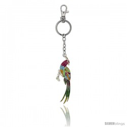 Multi Color Bird Parrot Key Chain, Key Ring, Key Holder, Key Tag, Key Fob, w/ Citrine, Pink Sapphire, Peridot & Blue