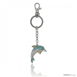 "Bottlenose Dolphin Key Chain, Key Ring, Key Holder, Key Tag, Key Fob, w/ Clear & Blue Topaz-Color Swarovski Crystals, 4"" tall"