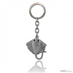 "Stingray Key Chain, Key Ring, Key Holder, Key Tag, Key Fob, w/ Clear & Black Swarovski Crystals, 4"" tall"