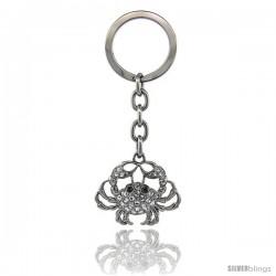 """Crab Key Chain, Key Ring, Key Holder, Key Tag, Key Fob, w/ Clear & Blue Topaz-Color Swarovski Crystals, 3-1/2"""" tall"""