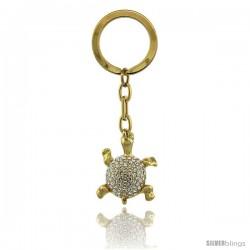 """Gold Tone Turtle Tortoise Key Chain, Key Ring, Key Holder, Key Tag, Key Fob, w/ Brilliant Cut Swarovski Crystals, 3"""" tall"""