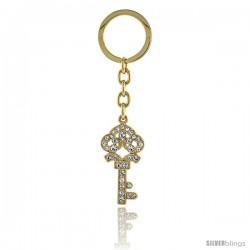 "Gold Tone Jeweled Key Chain, Key Ring, Key Holder, Key Tag, Key Fob, w/ Clear Swarovski Crystals, 4-1/2"" tall"