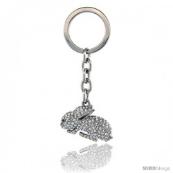 "Jeweled Bunny Rabbit Key Chain, Key Ring, Key Holder, Key Tag, Key Fob, w/ Brilliant Cut Swarovski Crystals, 3-1/2"" tall"