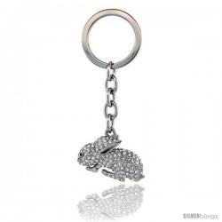 "Jeweled Bunny Rabbit Key Chain, Key Ring, Key Holder, Key Tag, Key Fob, w/ Brilliant Cut Swarovski Crystals, 3-1/2"" tall"