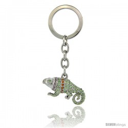 "Jeweled Iguana Key Chain, Key Ring, Key Holder, Key Tag, Key Fob, w/ Multi Color Swarovski Crystals, 3-1/2"" tall"