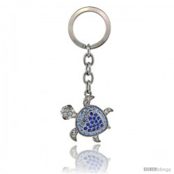 "Jeweled Tortoise Turtle Key Chain, Key Ring, Key Holder, Key Tag, Key Fob, w/ Multi Color Swarovski Crystals, 3-1/2"" tall"