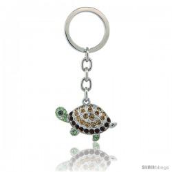 Jeweled Tortoise Turtle Key Chain, Key Ring, Key Holder, Key Tag, Key Fob, w/ Multi Color Swarovski Crystal -Style Lskc155