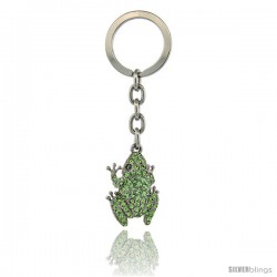 "Jeweled Frog Key Chain, Key Ring, Key Holder, Key Tag, Key Fob, w/ Green Peridot-Colored Swarovski Crystals, 3-1/2"" tall"