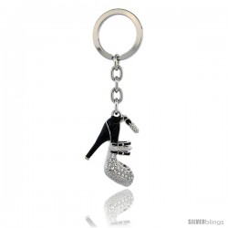"Jeweled High Heeled Shoe Key Chain, Key Ring, Key Holder, Key Tag, Key Fob, w/ Brilliant Cut Swarovski Crystals, 4"" tall"