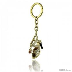 """Gold Tone High Heeled Shoe Sandal Key Chain, Key Ring, Key Holder, Key Tag, Key Fob, w/ Brilliant Cut Swarovski Crystals, 4"""""""