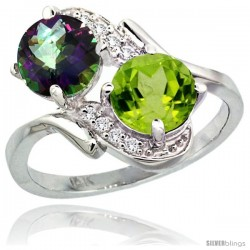 14k White Gold ( 7 mm ) Double Stone Engagement Mystic Topaz & Peridot Ring w/ 0.05 Carat Brilliant Cut Diamonds & 2.34 Carats