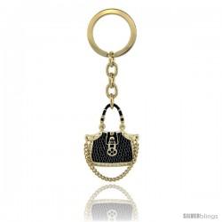 "Gold Tone Jeweled Purse Key Chain, Key Ring, Key Holder, Key Tag, Key Fob, w/ Brilliant Cut Swarovski Crystals, 4"" tall"