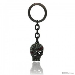 "Pirate Skull Key Chain, Key Ring, Key Holder, Key Tag, Key Fob, w/ Swarovski Crystals, 3-3/4"" tall"