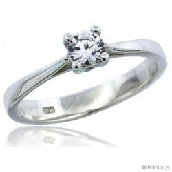 Sterling Silver 1/4 Carat Size Brilliant Cut CZ Solitaire Bridal Ring