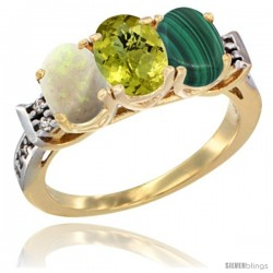 10K Yellow Gold Natural Opal, Lemon Quartz & Malachite Ring 3-Stone Oval 7x5 mm Diamond Accent