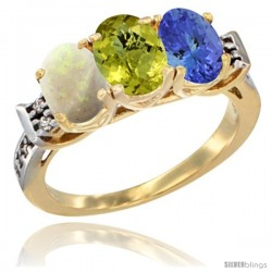 10K Yellow Gold Natural Opal, Lemon Quartz & Tanzanite Ring 3-Stone Oval 7x5 mm Diamond Accent