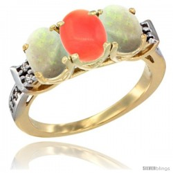 10K Yellow Gold Natural Coral & Opal Sides Ring 3-Stone Oval 7x5 mm Diamond Accent