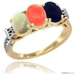 10K Yellow Gold Natural Opal, Coral & Lapis Ring 3-Stone Oval 7x5 mm Diamond Accent