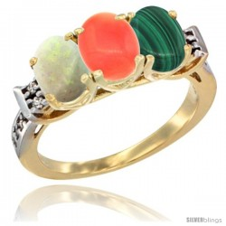 10K Yellow Gold Natural Opal, Coral & Malachite Ring 3-Stone Oval 7x5 mm Diamond Accent