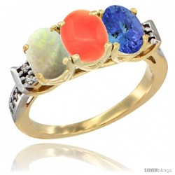 10K Yellow Gold Natural Opal, Coral & Tanzanite Ring 3-Stone Oval 7x5 mm Diamond Accent