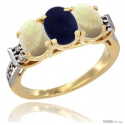 10K Yellow Gold Natural Lapis & Opal Sides Ring 3-Stone Oval 7x5 mm Diamond Accent