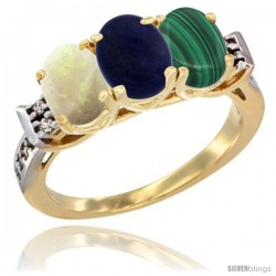 10K Yellow Gold Natural Opal, Lapis & Malachite Ring 3-Stone Oval 7x5 mm Diamond Accent