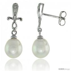 10k White Gold Cross & Pearl Earrings, w/ 0.02 Carat Brilliant Cut Diamonds, 1 in. (25mm) tall