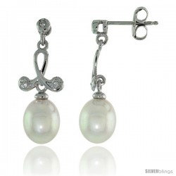 10k White Gold Loop & Pearl Earrings, w/ 0.05 Carat Brilliant Cut Diamonds, 1 in. (25mm) tall