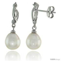 10k White Gold Swirl & Pearl Earrings, w/ 0.03 Carat Brilliant Cut Diamonds, 1 in. (26mm) tall