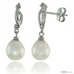 10k White Gold Swirl & Pearl Earrings, w/ 0.03 Carat Brilliant Cut Diamonds, 1 in. (26mm) tall