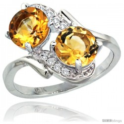 14k White Gold ( 7 mm ) Double Stone Engagement Citrine Ring w/ 0.05 Carat Brilliant Cut Diamonds & 2.34 Carats Round Stones