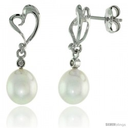 10k White Gold Heart Cut Out & Pearl Earrings, w/ Brilliant Cut Diamonds, 1 in. (25mm) tall