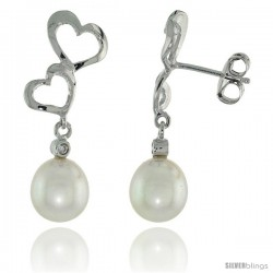 10k White Gold Double Heart Cut Out & Pearl Earrings, w/ Brilliant Cut Diamonds, 1 1/16 in. (27mm) tall