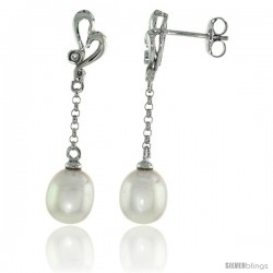 10k White Gold Heart Cut Out & Pearl Earrings, w/ 0.03 Carat Brilliant Cut Diamonds, 1 3/8 in. (35mm) tall