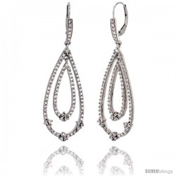 10K White Gold White Sapphire Tear Drop Earrings Diamond Accent, 2 3/16 in