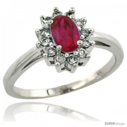 10k White Gold ( 6x4 mm ) Halo Engagement Created Ruby Ring w/ 0.212 Carat Brilliant Cut Diamonds & 0.45 Carat Oval Cut Stone