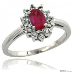 10k White Gold ( 6x4 mm ) Halo Engagement Created Ruby Ring w/ 0.212 Carat Brilliant Cut Diamonds & 0.45 Carat Oval Cut Stone