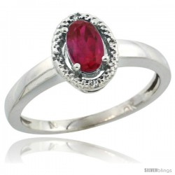 10k White Gold ( 6x4 mm ) Halo Engagement Created Ruby Ring w/ 0.007 Carat Brilliant Cut Diamonds & 0.55 Carat Oval Cut Stone