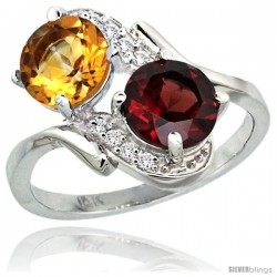14k White Gold ( 7 mm ) Double Stone Engagement Citrine & Garnet Ring w/ 0.05 Carat Brilliant Cut Diamonds & 2.34 Carats Round