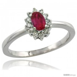 10k White Gold ( 5x3 mm ) Halo Engagement Created Ruby Ring w/ 0.12 Carat Brilliant Cut Diamonds & 0.20 Carat Oval Cut Stone