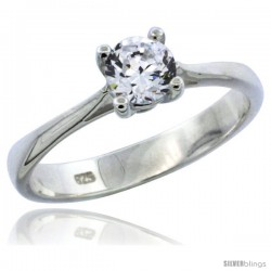 Sterling Silver 1/2 Carat Size Brilliant Cut CZ Solitaire Bridal Ring