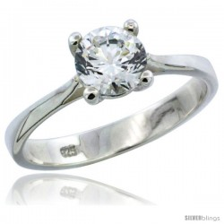 Sterling Silver 1 Carat Size Brilliant Cut CZ Solitaire Bridal Ring