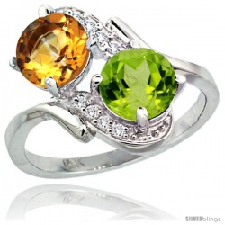 14k White Gold ( 7 mm ) Double Stone Engagement Citrine & Peridot Ring w/ 0.05 Carat Brilliant Cut Diamonds & 2.34 Carats Round