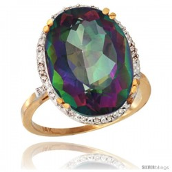 14k Yellow Gold Diamond Halo Large Mystic Topaz Ring 10.3 ct Oval Stone 18x13 mm, 3/4 in wide