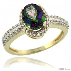 14k Yellow Gold Diamond Halo Mystic Topaz Ring 1.2 ct Oval Stone 8x6 mm, 3/8 in wide