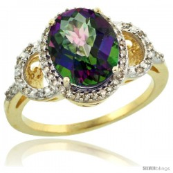 14k Yellow Gold Diamond Halo Mystic Topaz Ring 2.4 ct Oval Stone 10x8 mm, 1/2 in wide