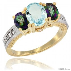 14k Yellow Gold Ladies Oval Natural Aquamarine 3-Stone Ring with Mystic Topaz Sides Diamond Accent